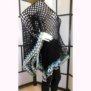 Crochet Granny Square Bell Sleeve Dress-Top L/XL